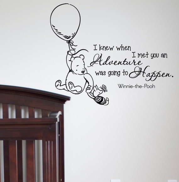 Wall decals quotes classic winnie the pooh i knew by for Classic pooh wall mural