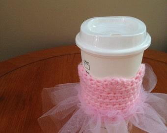 Ballerina Tu-tu Crochet Coffee Cozy, cup cozy, sleeve, dance recital gift
