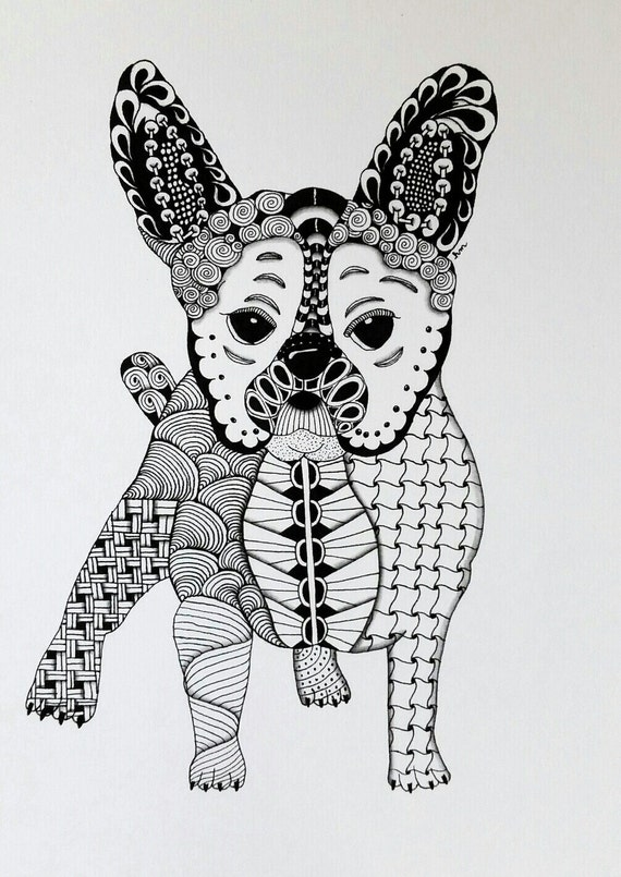 French Bulldog Zentangle Art Print