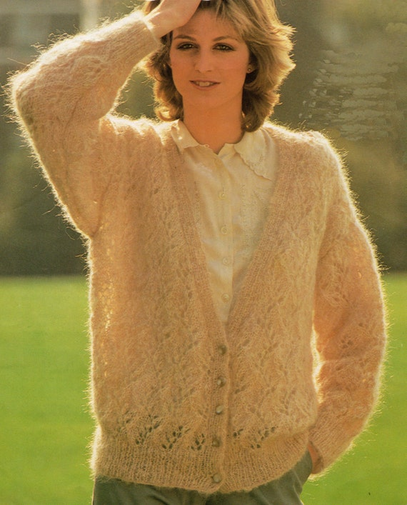 V Neck Knitting Pattern : Ladies Knitting Pattern V Neck Lace Stitch Cardigan 34-36
