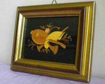 Italian decor, wood inlay, wood art, vintage picture, musical art, small picture, italian art, 1980s, memorabilia,retro home decor