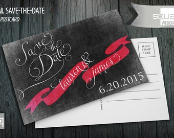 Save the Date Chalkboard Postcard - Custom Wedding Post Cards - Save-the-Date Postcards - CASAL style - PINK