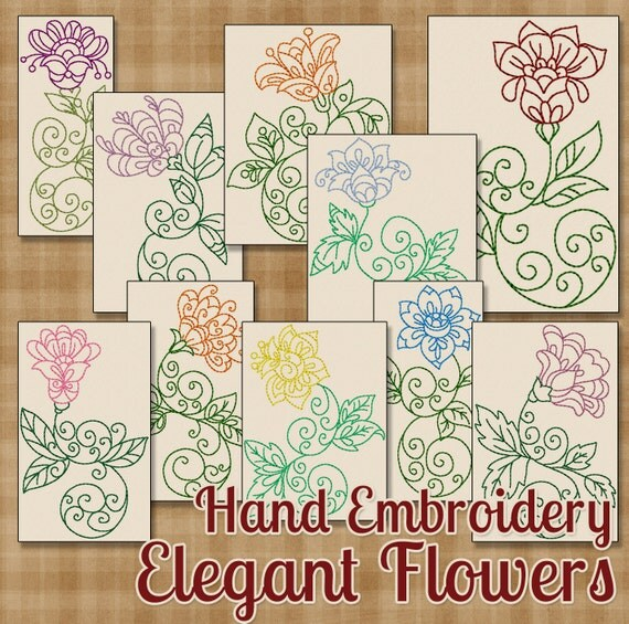 Hand Embroidery Patterns Elegant Flowers By HandEmbroideryDesign