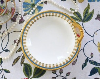 Limoges Blue and Gold Rimmed Serving Dish with Handle