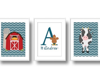 Farm Nursery Decor, Monogram Nursery Wall Art, Baby Farm Animals Nursery