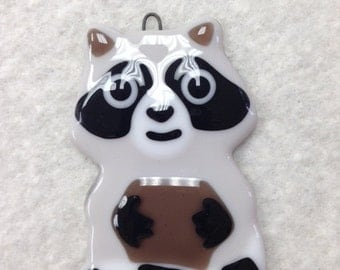 "Raccoon Fused Glass Ornament 2.25""x4.25"""