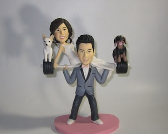 wedding cake topper Weight Lifting Wedding Cake Topper with Dog