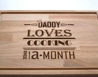 Custom Made Cutting Board, Custom Engraved. Fathers Day Gift, Loves to Cook.