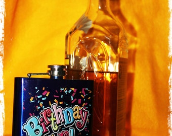 Birthday Girl Flask Alcohol 7 oz steel with funnel