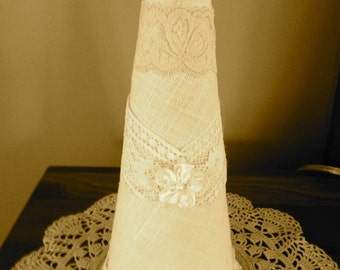 Linen and Antique Lace Tree with Embellishment