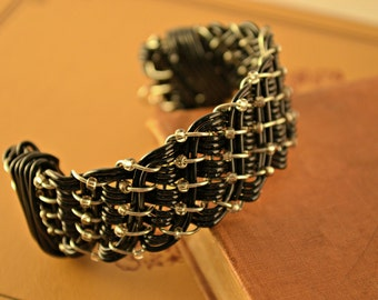 Black Woven Wire Cuff Bracelet with Iridescent Beads