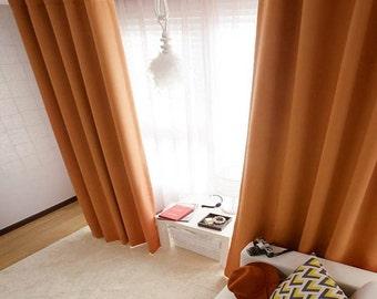 Dark Orange Blackout Curtain Drapery Panel Nursery Curtains