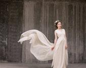 Zlata // Flowy airy wedding dress - Chiffon wedding dress - Beige wedding gown - Bohemian wedding dress - Antique wedding dress - Vintage