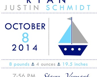 personalized birth announcement wall print / sailboat / nursery wall art / new baby gift