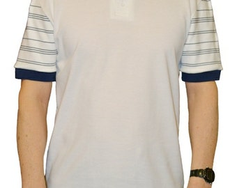 Men's polo shirt with flat knitted striped sleeves.   Made in England.  J506