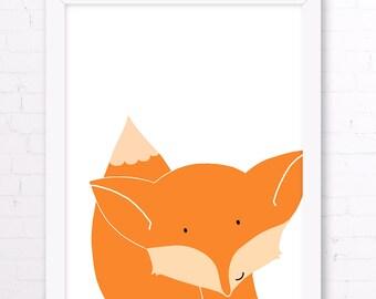 Baby Fox Nursery Print, Orange Fox Childrens Room Decor for Baby Shower Gift