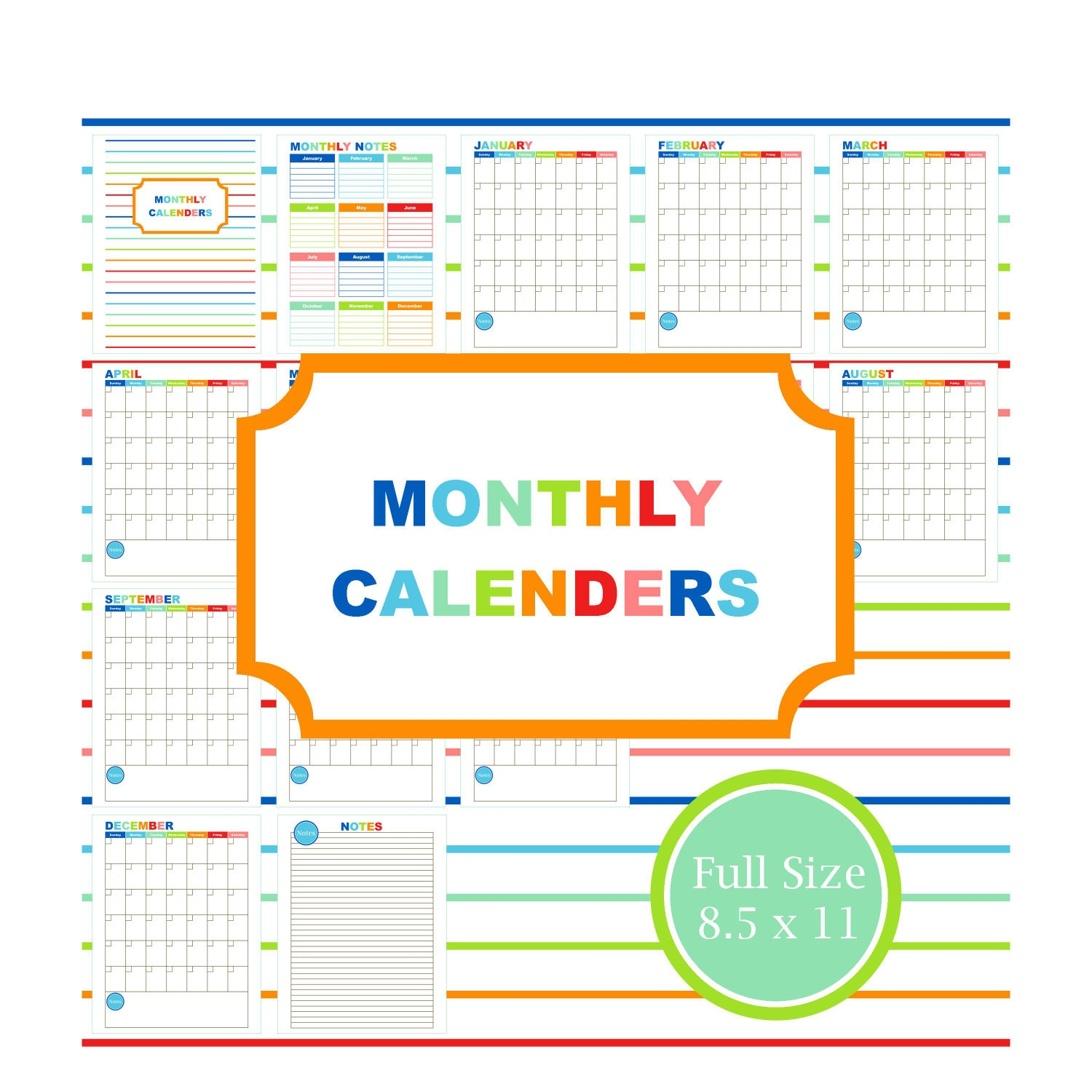 Blank Calendar Kit : Monthly calendar kit printable planner schedule