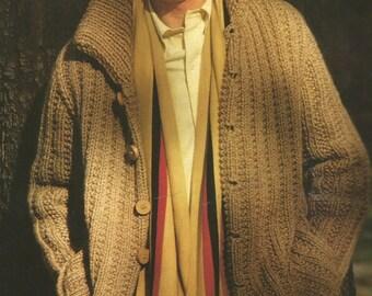 Vintage Men's Chunky Coat / Jacket Knitting PDF Pattern