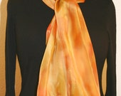 Silk Scarf Handpainted.  Golden Terracotta, Copper Beige Hand Painted Shawl. Handmade Scarf AUTUMN MOOD. Size 11x60 Anniversary, Mother Gift