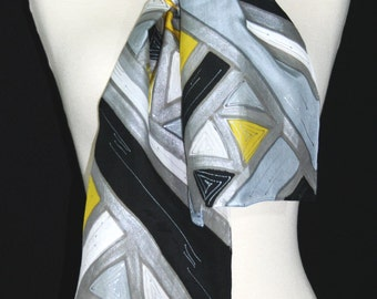 Yellow Silk Scarf. Black & Grey Hand Painted Silk Shawl. Handmade Silk Scarf SILVER AZTEC Size 8x54 Birthday, Bridesmaid Gift. Gift-Wrapped.