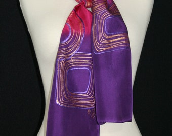 Pink Silk Scarf. Purple Hand Painted Silk Shawl. Orange Hand Dyed Silk Scarf BRIGHT SUNSETS 1, Birthday, Anniversary Gift 8x54. Gift-Wrapped