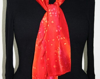 Red, Poppy Red, Berry Red Hand Painted Silk Shawl.  Handmade Silk Scarf SOUL MATE, size 8x54. Birthday, Bridesmaid Gift. Gift-Wrapped