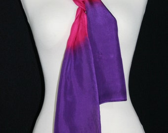 Pink Silk Scarf. Purple Hand Painted Silk Shawl. Orange Hand Dyed Silk Scarf BRIGHT SUNSETS 2, Birthday, Anniversary Gift 8x54. Gift-Wrapped