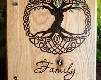 Celtic Knot Family Tree Oak Wood Keepsake Album