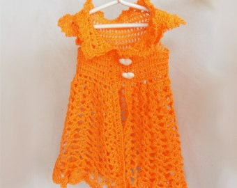 "Waldorf doll clothes crochet orange dress for 15""-18"" doll"