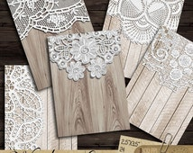 Wood and Lace - Printable Digital Collage Sheet CP-444 for ATC, Jewelry Holders, Hang Tags, Wedding Fafor Tags, Place Cards