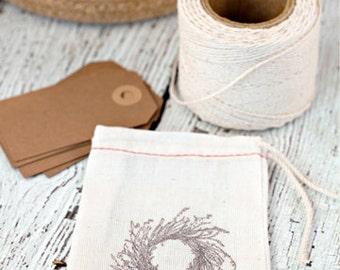 Hand stamped muslin bags, wreath muslin bags, favor bags, drawstring gift bags, wreath, gift bags