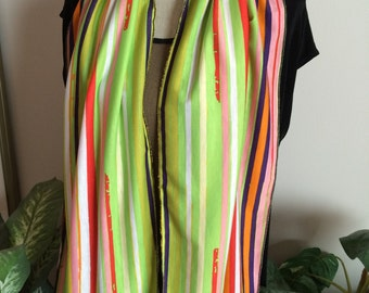 Multi-Colored Striped Jersey Knit Scarf with Bold Colors