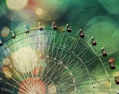 Carnival Ferris Wheel Abstract Bokeh Photography Print ~ Surreal Photo Green Pink Cream Coral ~ Vivid Colors Fairground Art ~