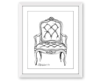 French Fauteuil Chair Print, Pen and Ink Print, Pen and Ink Illustration, 5x7, 8x10, 11x14, 13x19, Home Decor, Furniture Illustration