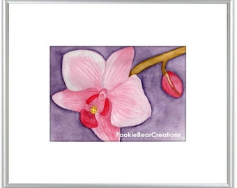 Pink Orchid Watercolor Painting Print Flower