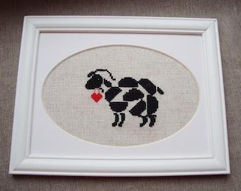 Sheep. Sheep cross stitch. Love Wall Decor. Sheep wall art. Love gift