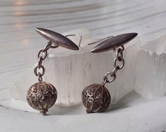 Vintage sterling silver filigree earrings // up cycled ladies cuff links // OOAK
