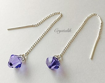 Earrings Tassel Swarovski Crystals Lilac Sterling Silver 925 Needle Earrings Silver Thread Silver Jewelry Bridal Jewellery Threader Gift