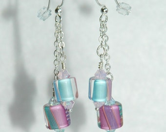 Swarovski Crystal and Furnace Cane glass Earrings
