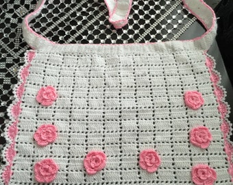 Knit Apron with Pink Flowers (Handmade)