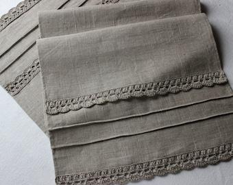 Table Runner, crocheted edgings ,gray natural linen, 100% natural