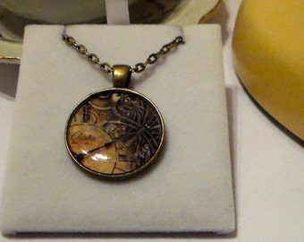 Vintage Style Steampunk Inspired Print Art Resin Pendant Necklace