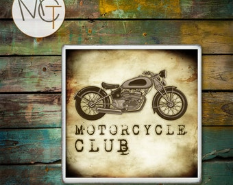 Motorcycle Man Cave Coaster(s), Price Is For ONE Coaster, Bar Coasters With a Vintage Style, Motorcycle Club, Biker Drink Coasters
