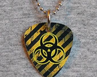 Metal Guitar Pick Necklace BIOHAZARD radioactive toxic waste danger hazardous  pendant charm 2-sided
