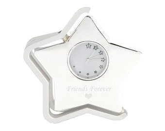 Personalized Rotating Star Clock - Gifts for Her - Holiday Gifts - Bridesmaid Gifts - Wedding Gifts - Analog Clock - Desk Clock - Star