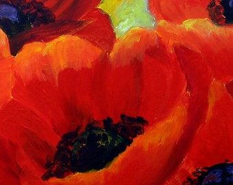 Poppy Painting, Original Painting Canvas Art, Romantic Gift For Her Red Poppy Flowers Canvas Painting, Fine Art Gift Idea by Miri Lave