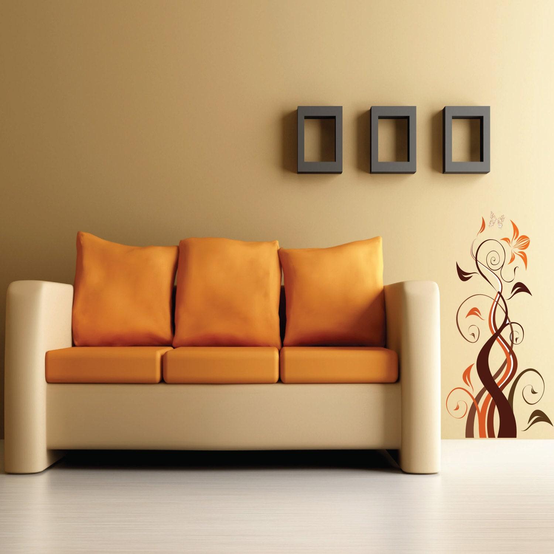 Autocollant imprim mural no s 002 fleurale d calque for Autocollant dcoratif mural