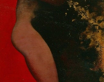 Red-oil painting nude gold on wood detail and original