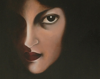 Face of woman Art Print by bruno-female-looking oil paintings