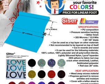"1 foot (12"" x 20"") ""SISER EASYWEED GLITTER"" Heat Transfer Vinyl - Choose your favorite colors ***Free Shipping***"